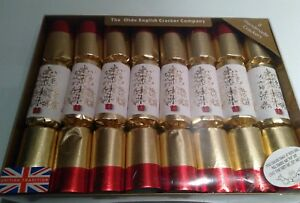 CHRISTMAS-CRACKERS-Set-The-Olde-English-Cracker-Co-gold-red-white-8-NEW-Holiday