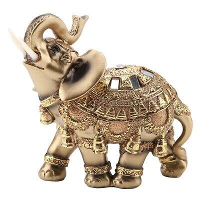 Feng Shui Elephant Trunk Statue Lucky Wealth Figurine Blue Gift Home Decor