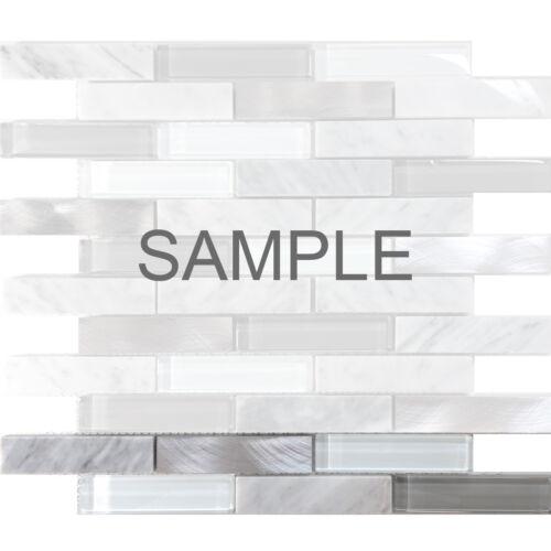 White Carrara Marble Blended Metallic and Gray Glass Mosaic Tile Backsplash