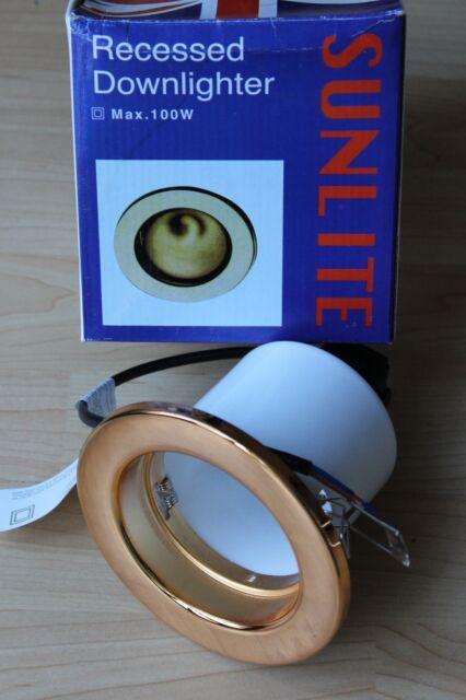 Sunlite R80 Mains Fixed Downlighter Brass for E27 reflector bulb maximum 100w