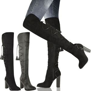 91266a2b7be5 womens ladies over knee thigh high riding boots block heel lace up ...