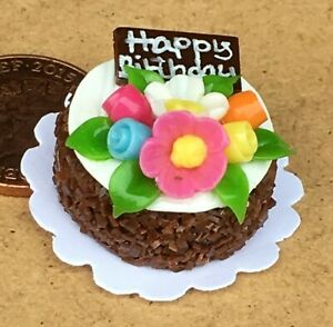 1:12 Scale Cake With Chocolate Icing Tumdee Dolls House Miniature Shop NC58