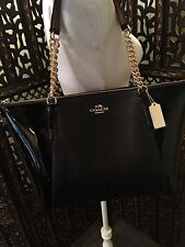 NWT AUTH AVA CHAIN TOTE IN PEBBLE AND PATENT LEATHER crossbody tote purse bag