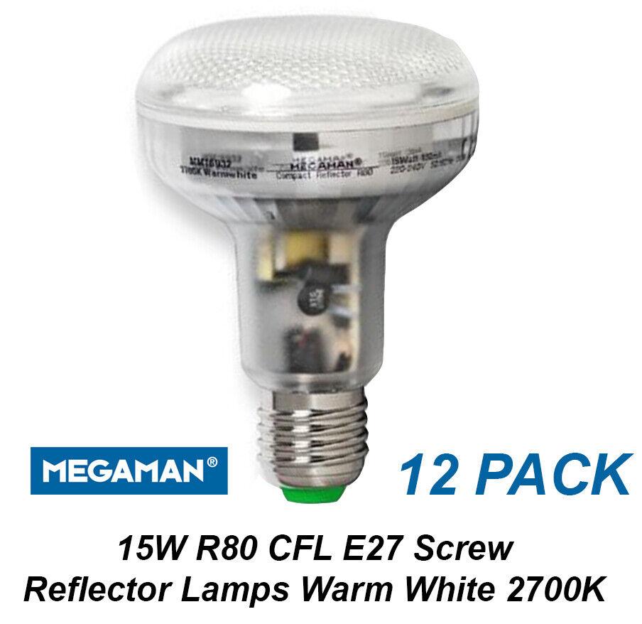 12 x 15W CFL Reflector Down Light Globes Bulbs Lamps R80 Warm Weiß 2700K