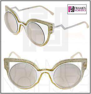 b05669fd FENDI PARADEYES FF0137S White Glitter Silver Mirrored Sunglasses ...