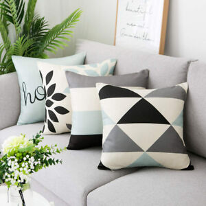 Am-Nordic-Striped-Leaf-Linen-Pillow-Case-Cushion-Cover-Sofa-Bed-Home-Decor-Eyef