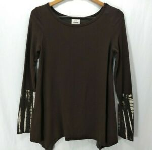 Knox-Rose-Top-Blouse-Womens-XS-Knit-Swing-Long-Sleeve-A-Line-Scoop-Neck-Brown
