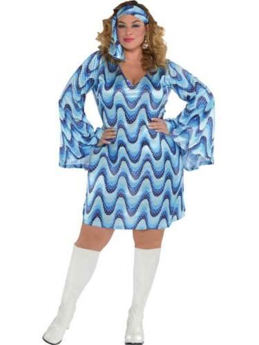 Womens Ladies Hippie Disco 60s 70s Blue Go Go Dancer Fancy Dress Party Costume