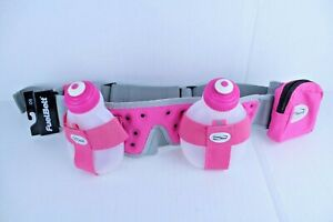 Fuel-Belt-2-Water-Bottle-Pink-Gray-Hiking-Running-Hydration-Storage-Belt-System