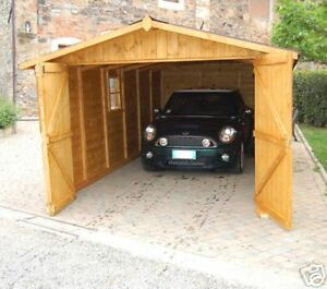 Garage casetta legno 320x640 porta tripla 20mm box auto ebay for Due box auto