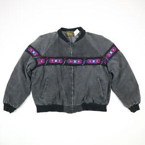 Vtg-Aztec-Navajo-Blanket-Lined-Canvas-Jacket-Faded-Black-Distress-Grunge-USA-XL