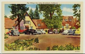 California-CA-Village-Inn-Linen-LAKE-Arrowhead-Motel-Big-Bear-Car-Restaurant-NOS