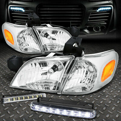 SMOKED HOUSING HEADLIGHT+AMBER CORNER+8 LED GRILL FOG LAMPS FOR 02-05 EXPLORER