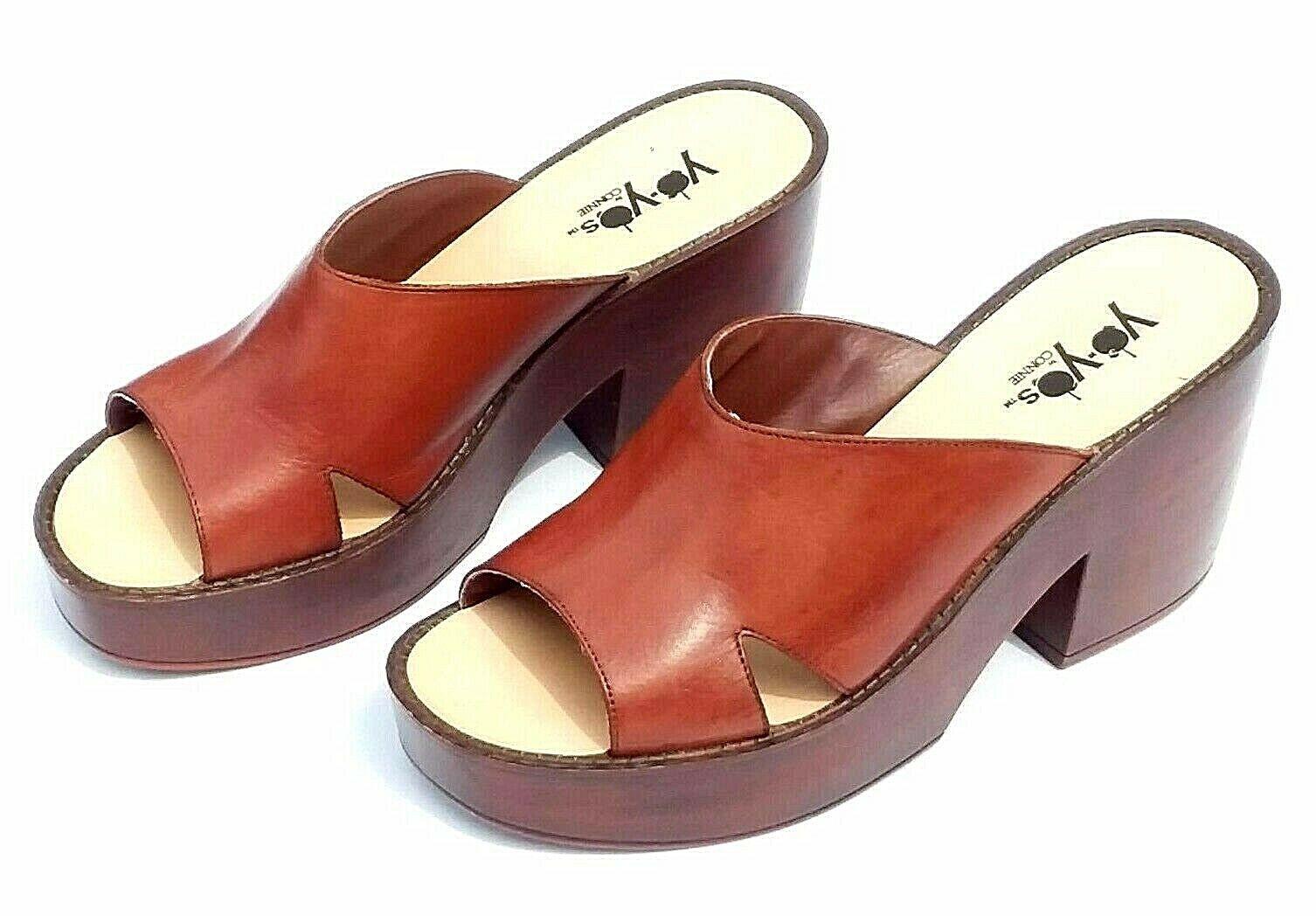 Vintage 7M Brown Leather YoYo Chunky Platform Sandal Heels