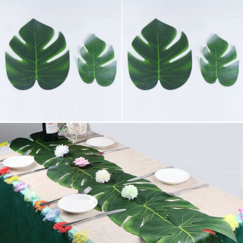 12pcs//set Artificial Tropical Palm Leaves Hawaii Party Decor Beach Wedding Decor