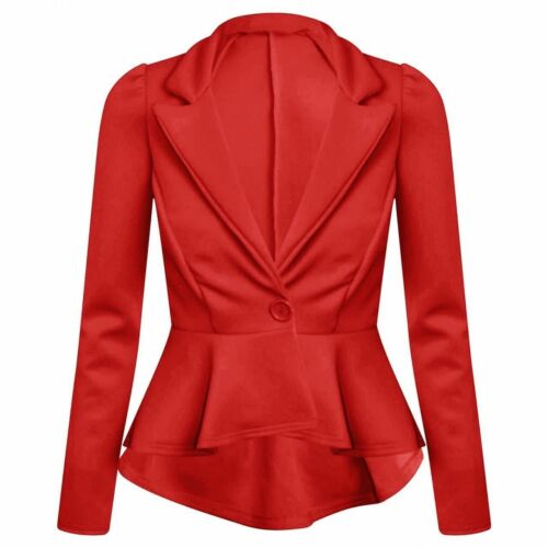 scbjk Ladies PIEGHE Peplum Frill giacca Blazer cappotto Made in UK indumenti