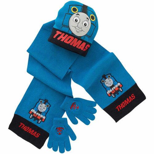 Boys Thomas /& Friends Bobble Beanie Hat Scarf /& Glove Set Knitted Stripe Blue