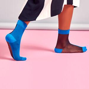 Hysteria-by-Happy-Socks-Filippa-Nylon-Ankle-Sock-in-Black-and-Bllue