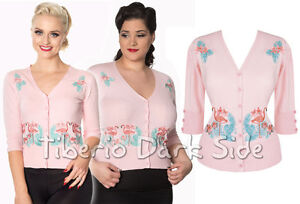 Banned-Face-To-Face-Flamenco-Rosa-Pin-Up-Retro-Rockabilly-Vintage-Mujer-Cardigan