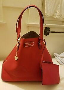 3101425f39c5 Details about DKNY RED SAFFIANO LEATHER SIDE ZIPPERS LARGE TOTE BAG