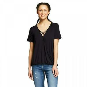 NWT-Mossimo-Women-039-s-Short-Sleeve-Cross-Neck-Wrap-T-Shirt-Top