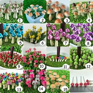 Details about Miniature Dollhouse Mushroom Tiny Fairy Terrarium Garden  Decor Multi Colors