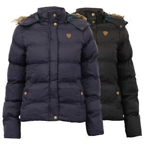ladies-jacket-Brave-Soul-womens-coat-hooded-padded-puffer-tartan-fur-winter-new