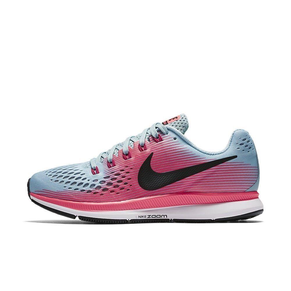 new style b305a 026ac ... uk para mujer nike air zoom pegasus 34 ancho w zapatos azul azul  zapatos blanco rosa