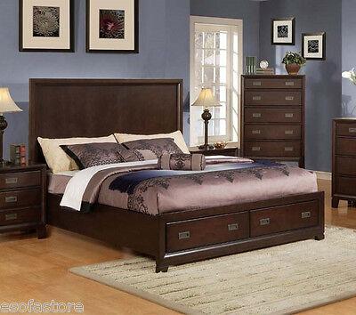 Master Bedroom Furniture King Queen Size Bed 4Pc Bedroom Set Dark Cherry  Color | eBay