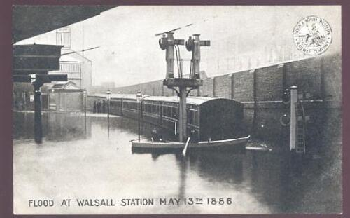 LNWR Official Railway Flood Walsall station PPC