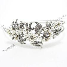 New bridal wedding flower pearl silver white headband  woman girl metal crystal