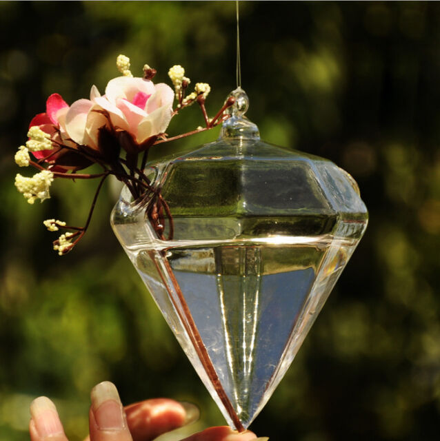 Hot New Cute Clear Glass Diamond Flower Plant Stand Hanging Vase Decor