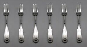 SET-OF-SIX-Oneida-Stainless-Flatware-CITYSCAPE-8-1-4-034-Large-Dinner-Forks-USA