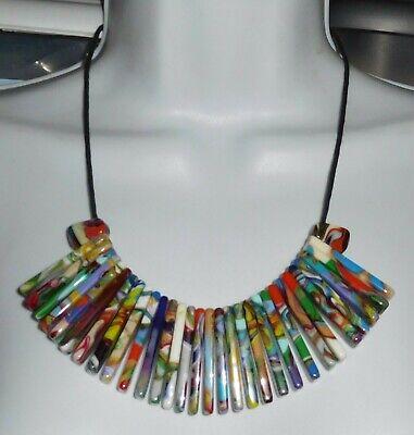 Sobral Magazine Nylon Pollock Multi Hued Swirl Bead Necklace Brazil Import