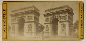 Parigi Arco Di Triomphe Francia Foto Stereo P49p2n7 Vintage Albumina