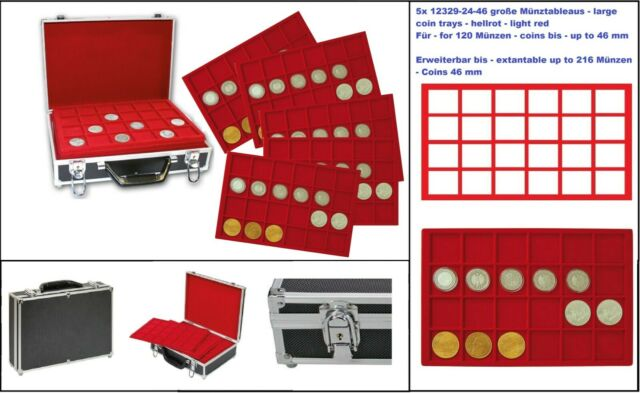 Safe 269-9-5 Large Aluminium Coin Case Black Red 5 Tableaux for 120 to 46 Mm