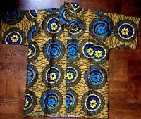Lady Mia's Of Africa Men's Xl African Shirt Wax Cotton Dashiki Blue Gold