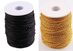 New-Black-Gold-Color-3M-10M-Cable-Open-Link-Iron-Metal-Chain-Findings-For-DIY