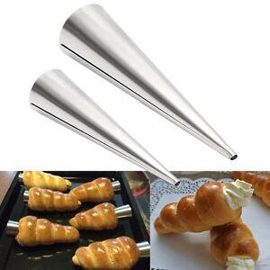 3 Pcs Non-Stick Dessert Cake Cannoli Cone Round Form Tubes Bread Baking Mold S/L