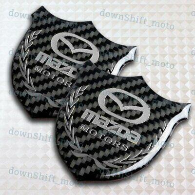 3D MAZDA Carbon Fiber Car Front Body Trunk Rear Side Badge Emblem Sticker X2