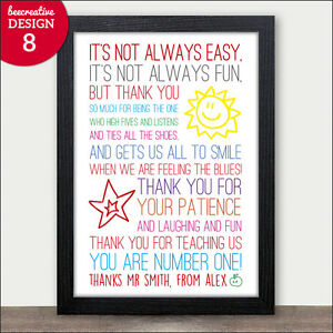 Thank You Teacher Gift - Personalised Poem Gift for Teachers ...
