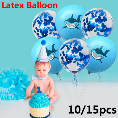 Baby Shower  Confetti Splash Shark Photo Props Latex Balloons Inflatable Toys