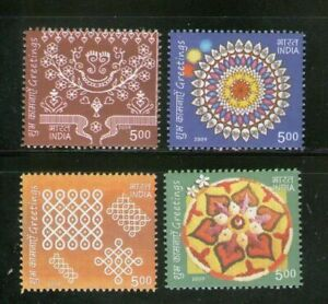 INDIA-2009-Greetings-Traditional-arts-stamps-set-4v-MNH