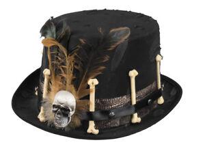 Mens-Ladies-Witch-Doctor-Black-Top-Hat-Skull-amp-Bones-Voodoo-Gothic-Halloween-NEW