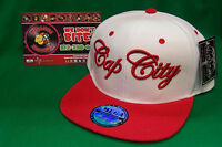 Cap City Atx White Red Flat Rimmed Snapback Sports Cap Hat Piranha Records