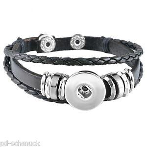 Neu-5-Schwarz-Armband-Armbaender-mit-Click-Klick-Buttons-Wechselschmuck-21cm-FL