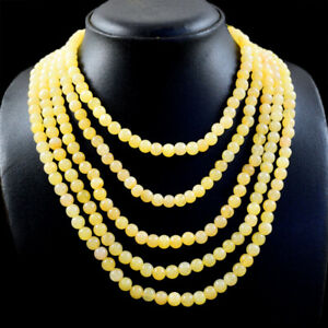 716.00 Cts Natural 5 Lines Yellow Aventurine Round Shape Beads Necklace NK 61E79