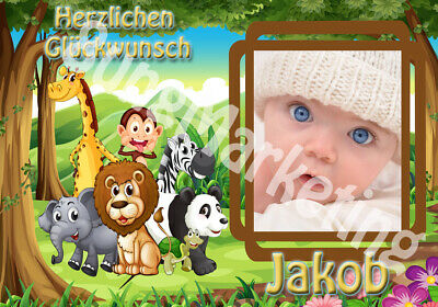 470 Tortenaufleger Dschungel Tiere Tortenbild Zuckerbild mit Wunschtext