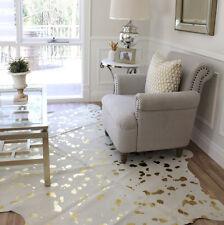 GOLD SPOT SPOTTED DEVORE METALLIC CREAM WHITE COWHIDE FLOOR RUG LARGE 4+sq