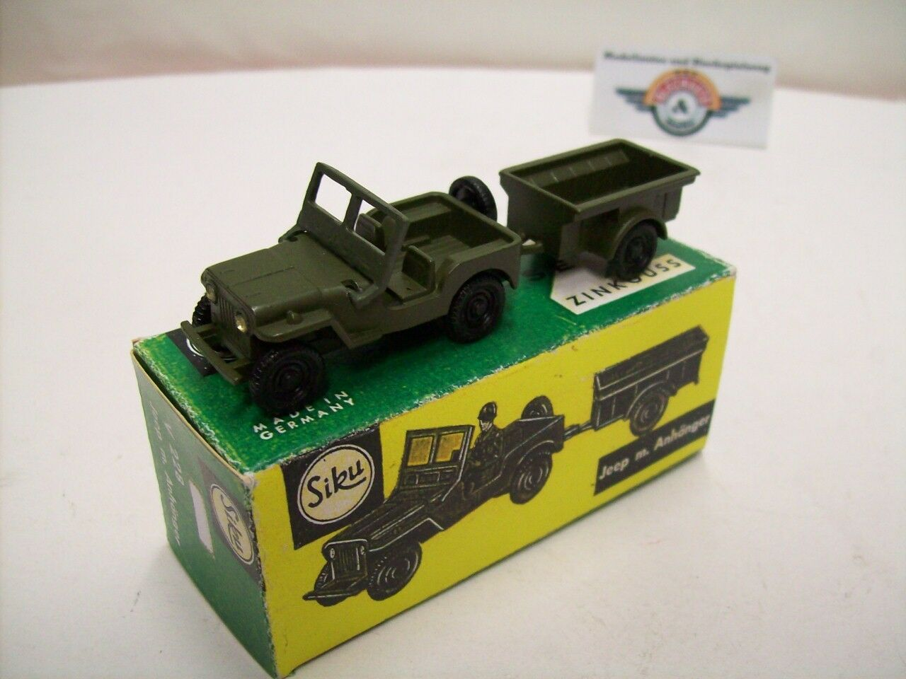 Siku V 226, Jeep Willýs with Trailer, 1945, Olive Green, Siku (Germany) 1 60